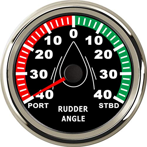 ELING Waterproof Rudder Angle Indicator Gauge Meter 0-190ohm with Mating Sensor 3-3/8'(85mm) with Backlight