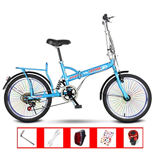 "Purchase AOHMG 20"" Folding Bike, Single-Speed Lightweight Steel Frame Compact Commuter Foldable City Bicycle, Unisexe with Anti-Skid Wear-Resistant Tire,Blue"