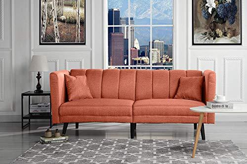 Orange Futon Sleeper Sofa Bed Couch, Convertible Futon Splitback Sofa Loveseat, Modern (Futon Sofa Beds) Lounger Futon Furniture | Sofas & Couches for Small Space Living Room, Home (Orange)