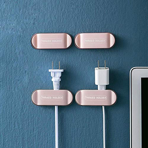 ADWA Plug Holder & Cable Clips*4 Pack,Firm Adhesive Plug Cord Management for Organizing Cable Cords Home and Office,Power Strip Holder Wall Mount Self Adhesive Fixator for Home-Pink