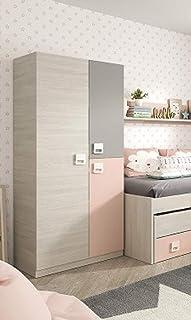 PEGANE Armoire Enfant avec 2 Portes Coloris Blanc Alpes/Rose - 200 x 90 x 52 cm