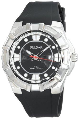 Pulsar PXH633 メンズ スポーツ シルバートーン ブラック 樹脂ベルト 腕時計