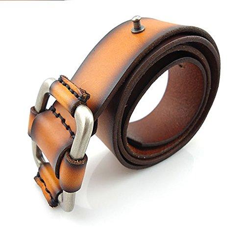 Junjiagao Glatte Schnalle Kopfschicht Kuhfell Freizeitbekleidung Zubehör Ledergürtel für Unisex (Größe : L)
