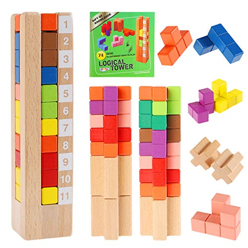Herefun Puzzle Tetris de Madera, Tetris del Juguete, Montessori Rompecabezas de Madera, Tangram Rompecabezas, Tetris Juguete para Niños Regalo Educativo para Niños Todas Las Edades