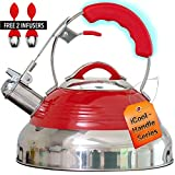 Whistling Tea Kettle Red Hotness with iCool-Handle Technology and 2 Free Infusers for Loose Leaf Tea...