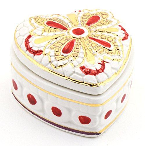 ART ESCUDELLERS Caja Corazon Multicolor en Ceramica Pintada a Mano con Oro de 24K, Decorado al Estilo BIZANTINO Blanco. 6cm x 6cm x 4cm