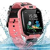 Montre Connectée Enfant LBS Tracker Étanche Montre Téléphone Enfant Smartwatch pour Fille Garçon Compatible avec iOS/Android, Pink