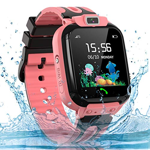 Kids Smart Watch Phone, LBS AGPS Tracker IP67 Waterproof Smartwatch for Boys Girls SOS Call Touch Screen Game Voice Chat Camera Digital Wrist Watch Birthday Gift(Pink)