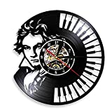 Enofvd Reloj de Pared de Vinilo con Retrato, Teclado de Piano, Reloj de Pared, decoración del hogar, Reloj de Pared, música clásica sinfónica, Regalo de Pareja de 12 Pulgadas