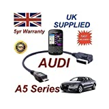 Audi A5 Serie 2008 + Ami Mmi Cable para Blackberry Q10 4F0051510M Cable Micro USB