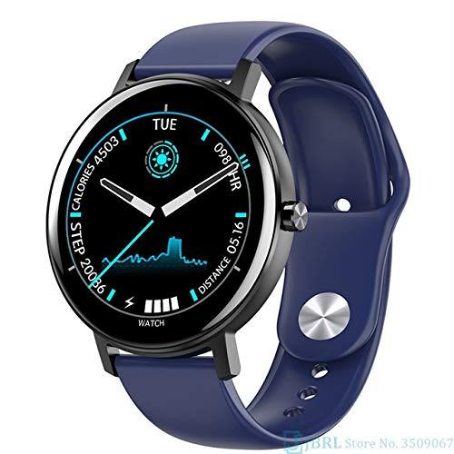 Reloj inteligente CRFYJ para hombre y mujer, reloj inteligente electrónico, para Android IOS Fitness Tracker nuevo Bluetooth Smart Watch (color: silicona azul)