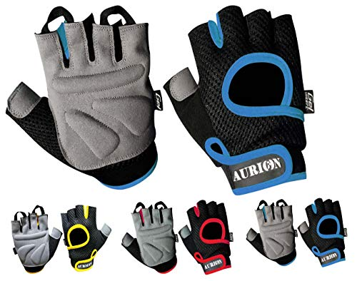 Aurion P7272 Anti-Slip Weight Lifting Gloves with Padded & Adjustable Fasteners, X-Large (Blue)