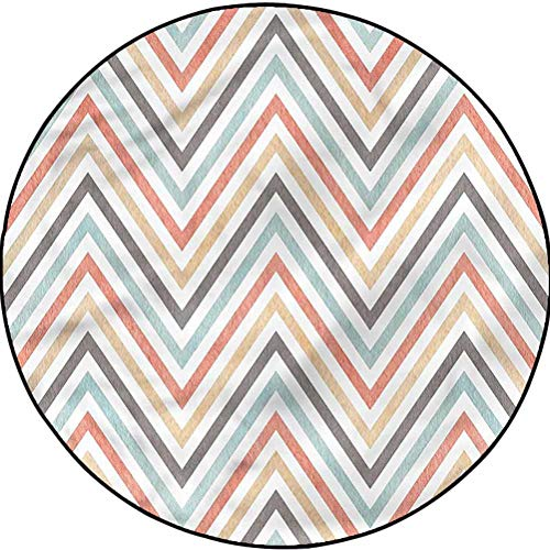 Geometric Modern Trellis Area Rug Carpet Decor for Bedrooms, Dining Rooms Chevron Lines Vintage Art Diameter 35.8 in(91cm)