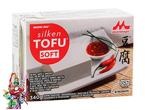 yoaxia ® - [ 340g ] Mori-Nu Morinaga - Silken Tofu SOFT - Glutenfrei + ein kleines Glückspüppchen - Holzpüppchen