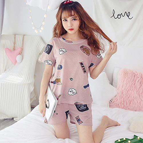 JFCDB Zomer pyjama,Vrouwen pyjama sets dunne vrouwen katoenen pyjama korte mouw nachtkleding vrouwen ronde hals pyjama pak zomer casual homewear, duan zimu fen, xxl