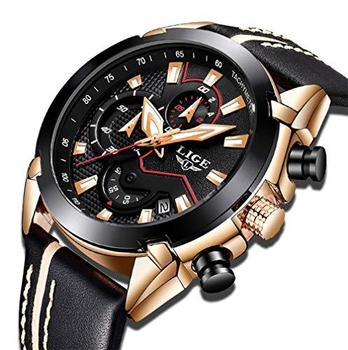 Reloj para Hombres, Relojes Deportivo de Cuarzo analógico Impermeable para Hombre Relojes LIGE Lujoso Cronógrafo para Hombre, Moda Casual Reloj Redondo Negro Fecha