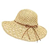 Wilxaw Sombrero de Paja de Mujeres, Playa de Sombrero de Sol Plegable ala Ancha, Gorra de Sol Suave Circunferencia de Cabeza Ajustable (Beige)