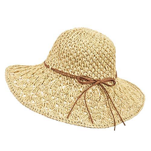 Wilxaw Strohhut, faltbar, für Damen, UV-Schutz, Stroh, Panama, Capeline breiter Rand, modisch, Strand, Capeline Bow Dekoration, Beige