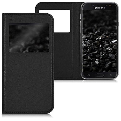 kwmobile Funda Compatible con Samsung Galaxy J7 (2017) DUOS - Carcasa de Cuero sintético con Ventana - Case en Negro