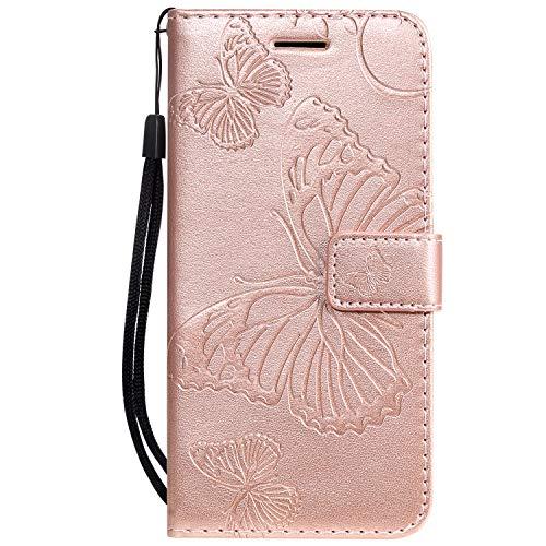 Hülle für iPhone 11 Pro Hülle Handyhülle [Standfunktion] [Kartenfach] [Magnetverschluss] Tasche Etui Schutzhülle lederhülle klapphülle für Apple iPhone 11 Pro 2019 - JEKT040063 Rosa Gold