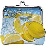Lemon Falling Under Water A Big Splash Leather Floral Coin Purse Clutch Pouch Billetera para Mujer