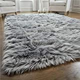 Gorilla Grip Premium Faux Fur Area Rug, 2x4, Fluffy Shag Carpet Accent Rugs for Baby Nursery, Bedroom and Living Room, Luxury Indoor Home Decor, Bed Side Floor Plush Carpets, Rectangle, Grey