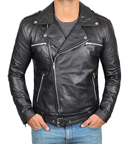 Fjackets Genuine Lambskin Biker Jacket Men - Black Asymmetrical Moto Leather Jacket Mens | [1100052], Negn S