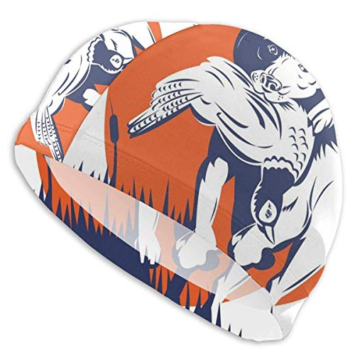 Gebrb Gorro de Baño/Gorro de Natacion, Elastic Swimming Hat Diving Caps,Music Themed Hand Drawn Abstract Instruments Microphone Drums Keyboard Stradivarius,For Men Women Youths