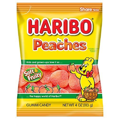 Haribo Gummi Candy Peaches 4 oz Bag Pack of 12