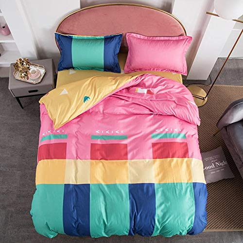 Duvet Sets Brushed Cotton Duvet Covers Printed Quilt Bedding 4pc (Color : 27, Size : 2.0m 4pc)