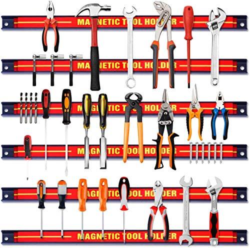 RELAX4LIFE Magnetleiste aus Stahl, Magnetischer Werkzeughalter, Werkzeugleiste Wand, Werkzeughalterung Magnet, Magnethalterung Werkstatt, Hohe Tragkraft, Inkl. Montagematerial, 46 cm lang (6 Stück)