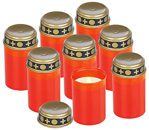 PEARL Grabbeleuchtung: 8er-Set flackernde Grablicht-LED-Kerzen, Batteriebetrieb, 12 cm hoch (Grabschmuck-Licht)