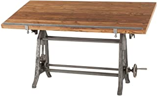 Vintage Drafting Table   Beirut Industrial Artist Desk Also Used as Full Standing Desk with Reclaimed Wood Table Top. Crank Adjustable Desk with Iron Cast Base, and tilt top Desk.