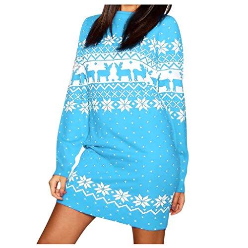 Vrouwen Kerstmis Sweatshirts Mini Jurk, Dames Lange Mouw Kerstman Rendier Sneeuwvlok Print Kostuum Kerstmis Kerstmis Swing Jurk