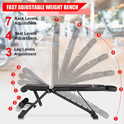 Adjustable Weight Bench with Upgraded Headrest, Foldable Workout Bench for Home Gym Strength Training, 500lbs Incline Decline Flat Exercise Bench Press for Wegiht Lifting by Dualeco
