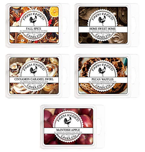 Fall Spice Scented Wax Warmer Melts, 5 Pack. 15 ounces. 100% All American Natural Soy. Hand-Crafted Farm Raised Candles. Paraffin-Free. Scented Wax Melts, Warmer Cubes. Bakery Scents