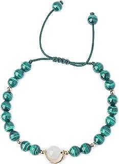 Feng Shui Bracelet Wealth Bracelet Malachite Bracelet Blue Moonstone Accessory Bracelet Attract Lucky Gift for Woman Coupl...
