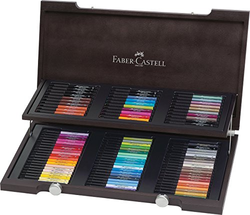 Faber-Castell 167400 - Estuche de madera con 90 rotuladores Pitt punta de pincel, multicolor
