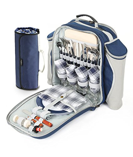 Deluxe 4 Personen Picknick Rucksack in Nachtblau (Greenfield Collection) inklusive Picknickdecke
