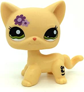 ZAD Littlest Pet Shop Rare Short Hair Cat Kitty Yellow Purple Flowers LPS Toy #1962