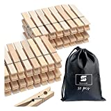 Wooden Clothes Pins Heavy Duty Outdoor Clothespins for Hanging Clothes Wood Clips Large Close Pins Clothing Pegs for Crafts Clothesline Laundry, 2.9 Inch, Pack of 50