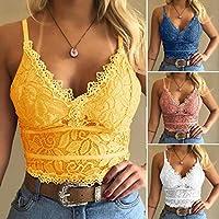 Sunywear Women Casual Spaghetti Straps Lace Floral Vest Tanks (Yellow)