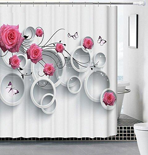 Rideau de Douche Rideau de Bain 3D Plante Succulente Imprimé Imperméable et Anti-moisissure avec 8- 12 Anneaux Crochets 100%Polyester , 001 , 180*180cm
