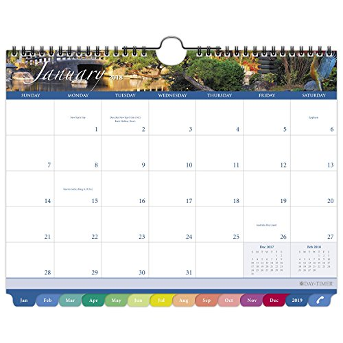 "Day-Timer Monthly Wall Calendar, Tabbed, January 2018 - December 2018, 11"" x 8-1/2"", Garden Path (11357-1801)"