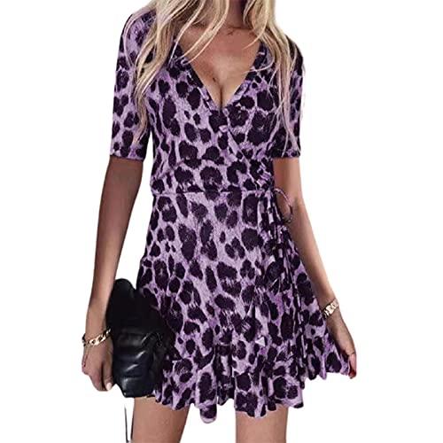 SLYZ Mujeres Europeas Y Americanas Verano con Cuello En V Estampado De Leopardo Sexy Discoteca Falda con Volantes Vestido Ropa De Mujer