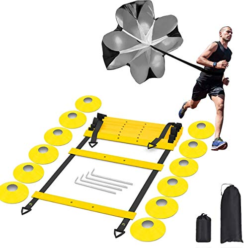 penban Pro Speed and Agility Ladder Training Set, Improves Coordination, Speed, Power and Strength,with 12 Cones,1 Resistance Parachute and 4 Hooks,for Soccer,Hockey, Basketball Drill,Lacross,etc