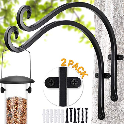 Bird Feeder Bracket| Bird Feeders for Outside Hanger 2 Pieces / 12quot More Stable and Sturdy Hanging Plant Bracket