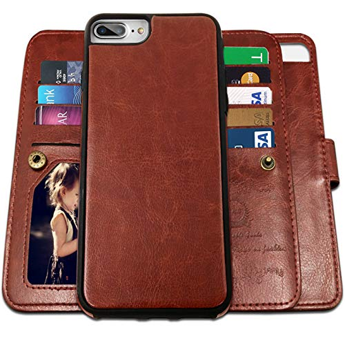 iPhone 8 Plus Case, iPhone 7 Plus Wallet Cases with Detachable Slim Case with 9 Card Slots,Stands,Strap for iPhone 7 Plus(2016)/8 Plus(2017), CASEOWL 2 in 1 Folio Leather Removable TPU Case(Brown)