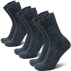 DANISH ENDURANCE Light Merino Hiking Socks 3 Pairs (Gray, EU 35-38)