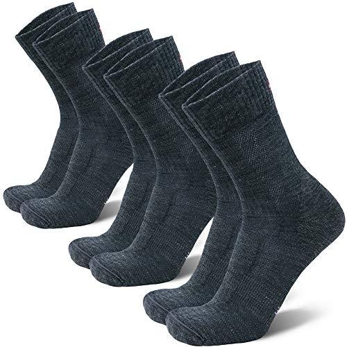 Merino Wool Light Hiking Socks (Grey 3-pairs, US Women 8-10 // US Men 6.5-8.5)